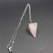 Gema Natural Cristal De Cuarzo Sanación Reiki Péndulo Collar Cadena Colgante HQ