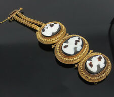 Antique 1800's Large Stone Cameo & 18K Yellow Gold Heavy decorated Bracelet