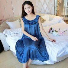 Women Satin Long Nightdress Silk Lace Lingerie Nightgown Sleepwear Sexy Homewear