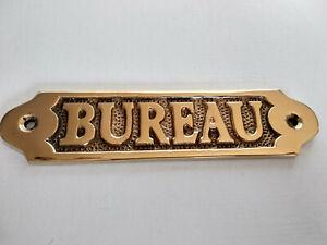 Plaque de porte laiton massif BUREAU neuve longueur 14,5cm pour maison bateau...