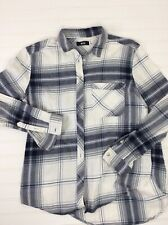 BDG Urban Outfitters button up Plaid Flannel L/S shirt White Gray mens S
