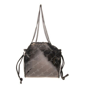 RRP €650 STELLA MCCARTNEY Tote Bag Coated Logo Removable Pouch Chain Handles
