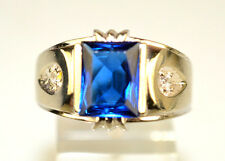 VINTAGE MENS 10K WHITE GOLD SIMULATED BLUE SAPPHIRE FAUX DIAMOND RING SIZE 11.5