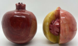 Set 2 Vintage Solid Carved Stone Marble Agate Red Yellow Pomegranate Peach Fruit