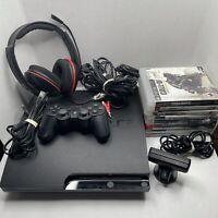 Sony PlayStation 3 PS3 Slim Black Console W 8 Games Bundle Headset Camera Bundle
