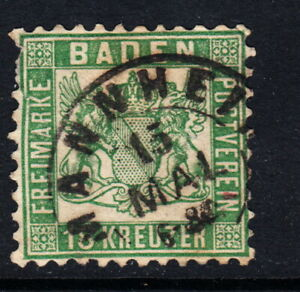 1862 BADEN 18 Kreuzer Dk Green #21a German States -  Used Mannheim Postmark CV2K