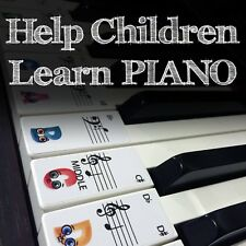 CHILDRENS Keyboard / Piano Stickers up to 88 KEYS best way to learn Piano 4 Kids
