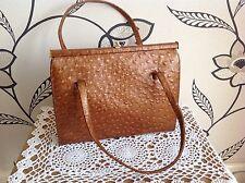 VINTAGE 1960s Meadows Regent St Tan Struzzo Marrone Pelle Verniciata Borsetta Bag