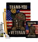 Thank you Veteran Burlap Garden Flag Service Armed Forces Gift Yard House Banner