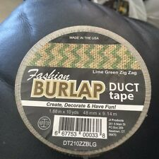 """Fashion Burlap Duct Tape Lime Green Zig Zag 1.88"""" x 10yds New!!!"""