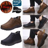 Men's Winter Warm Fur-lined Ankle Snow Boots Office Slip On Walk Shoes Big Size