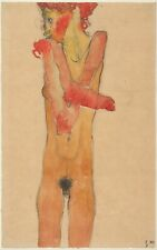 Egon Schiele 1910 Girl Nude With Folded Arms 12x8 inch Print
