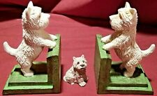 Bookends Westies 2 Scotty Terrier White Vintage Pair Of West Highland Dogs