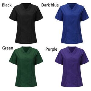 Women/Nurse Nursing Uniform Short Sleeve T-shirt V-Neck Scrub Blouse Tops