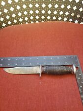 VINTAGE SCHRADE-WALDEN - H 15 - FIXED BLADE KNIFE - LEATHER GRIP  NICE PRE OWNED