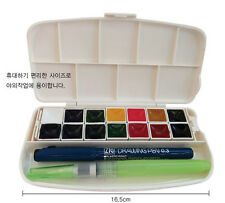 Kuretake Transparent Watercolor Palette 14 Color with Brush and Pen Set