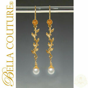 $495 NEW BC® ANTIQUE VICTORIAN 18K GOLD WHITE PEARL DANGLE DROP EARRINGS 24K
