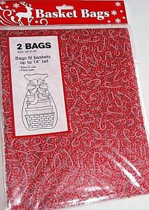 """CHRISTMAS  BASKET BAGS  2 Pack  22"""" x 30"""" FITS BASKETS UP TO 14"""" TALL"""