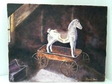 SAFEKEEPING IN ATTIC - TOY PONY IN WAGON - SIGNED BEVERLY BOWIE
