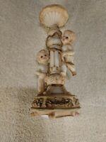 CERAMIC Cherub Angels Pedestal with Candle Stick  Holder Round Base