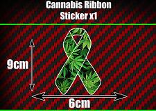 CANNABIS weed MARIJUANA cancer RIBBON sticker laptop car van support legalise
