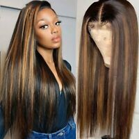 Black Women Transparent Highlight Colored Hair Wigs Pre Plucked Lace Front