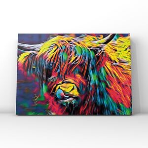 Highland Bull Multicoloured Abstract  Canvas Wall Art | Plus 6 FREE postcards.