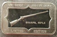 1 OZ .999 Silver SHARPS RIFLE ART BAR HUNTER'S RIFLE 2nd Amendment RARE OLD
