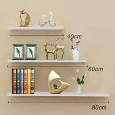 3 Pcs High Floating Wall Mounted Display Shelf Bookshelf Storage Holder-White