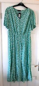 BNWT M&S green ditsy floral print midi dress size 14 Long