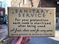 "VINTAGE MINTY c.1930 TIN OVER CARDBOARD ""SANITARY SERVICE"" BARBERSHOP SIGN"