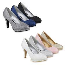 Klassische Damen Pumps Stiletto High Heels Glitzer Party 820294 Schuhe