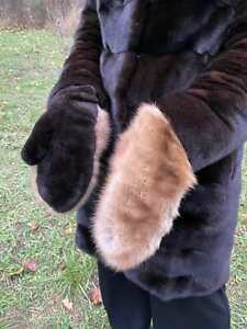 Handmade winter real sable fur mittens for women