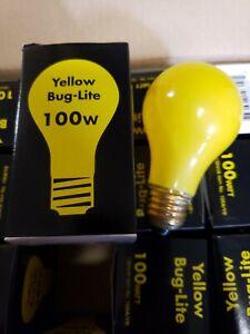 Bulbrite 100 Watt Incandescent A19 Yellow Bug Light Standard Base 130 Volt