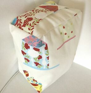 SHABBY CHIC SOFT WHITE MULTI COLOUR BIRD HOUSE FABRIC DOOR STOP ... UNFILLED