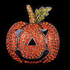 Halloween Pumpkin Brooch Pin Rhinestone Crystal Broach Holiday Festival Jewelry