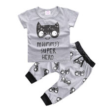 2pcs Newborn Kids Baby Boy Outfits Monster T-shirt Tops+Pants Cotton Clothes Set