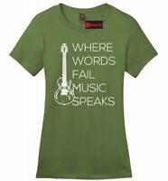 Where Words Fail Music Speaks Ladies T Shirt Graphic Tee Country Music Tee Z4