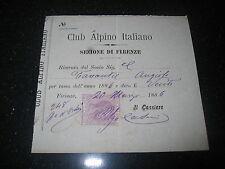 CLUB ALPINO ITALIANO ricevuta da socio anno 1886  Firenze
