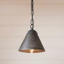 Primitive new small CRESTWOOD black punched tin shade hanging light / nice
