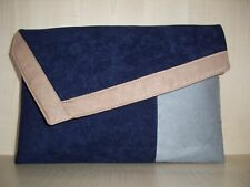 OVER SIZED BEIGE, GREY & NAVY  BLUE faux suede clutch bag handmade in the UK.