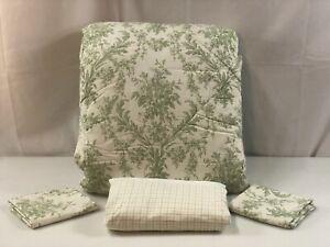 Ralph Lauren Lakeville Green Toile Queen Comforter Shams Skirt Tattersall NWT