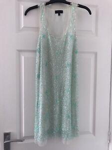 Topshop White & Green Embellished Dress - Size 8