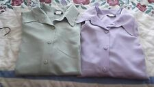 LADIES BLOUSES SET OF TWO LONG SLEEVE LAVENDER AND GREEN-XL