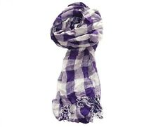 Ladies Large H&M Scarf STUNNING Purple and Grey Checked Shawl Wrap Scarves