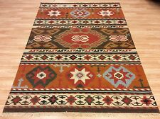 RUSTIC GENUINE AUTHENT Hand-woven Caucasian Tribal Kilim Wool Rug 176x240cm -50%