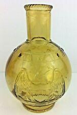 Amber Glass Eagle and Stars Kerosene Oil Lamp Chimney Shade Vintage