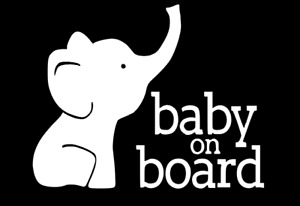 Baby On Board Baby Elephant Vinyl Decal baby car decal