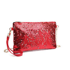 Women Bling Sequins Evening Clutch Purse Hand Bags Cross Body Chain Shoulder Bag Red