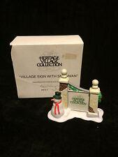 Vintage Dept 56 Heritage Village Sign with Snowman